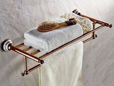 Rose Gold Brass  Wall Mounted Bathroom Clothes Towel Racks Shelf aba383