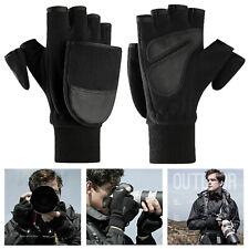 Men Women Winter Warm Fliptop Gloves Fingerless Convertible Polar Fleece Mittens