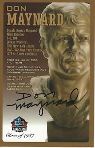 Don Maynard New York Jets  Football Hall Of Fame Autographed Bust Card