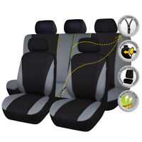 9 PCS Universal Car Seat Covers Set Grey Polyester Sponge fit for SUV Van Truck