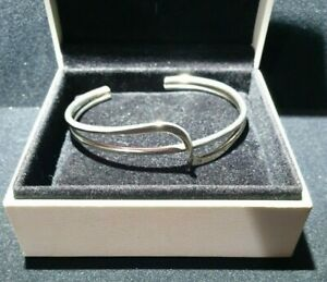 Sterling Silver 925 minimalist Solid double,cross/ Wave Bangle Bracelet Cuff