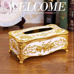 1Pcs Gold Tissue Box Cover Chic Napkin Case Holder Hotel Home Decor Organizer