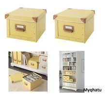 2 IKEA Fjalla yellow Box with Lid handle storage organize New