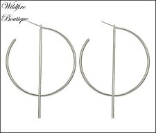 Super Chic Silver or Gold Circle Round With Long Bar Hoops Geometric Earrings