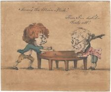 Original 1799 English Ink and Watercolor Cartoon Drawing of Dice Players