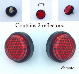 PAIR motorbike/motorcycle Tail Tidy Round 20mm bolt on Rear Red Reflector MOT.