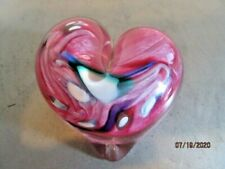 Art Glass heart shaped paperweight signed & dated b126