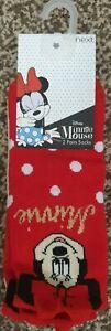 BNWT Next Baby Girls Socks 3-5.5 2 Pairs ankle Minnie mouse disney