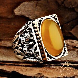 Man Amber Ring Rectangle Celtic Huge Silver Resin Rings For Men Gemstone Jewelry