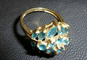 10 ct Yellow Gold Blue Topaz Cluster  Ring,  Size 'P' (stunning Ring)