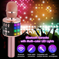 2200mAh Wireless LED bluetooth Karaoke Microphone USB Speaker Mini Home KTV HOT