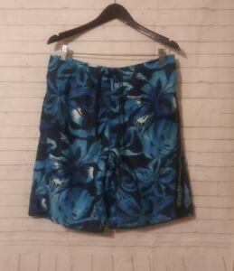 P Men's Speedo Blue Floral Patterned Swim Trunks, Size L