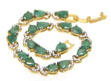 Armband Smaragd & Smaragde  925 Sterling Silber   Gelb & Weiß Vergoldet  19,5 cm