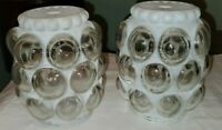 Vintage MCM Fancy Hobnail Clear Frosted Bubble Glass Ball Globe Light Shade 3""