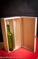 WINE WOODEN BOX PLAIN WOOD 2 SPACES / ART CRAFT DECOUPAGE