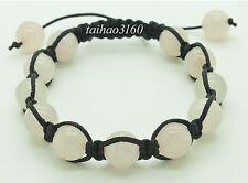Natural 10mm Rose Quartz Stone Gemstone Beads Adjustable Shamballa Bracelet