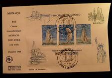 MONACO PREMIER JOUR FDC YVERT BF 32      TRANSATLANTIQUE VOILE       4F   1985