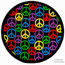 SUPER PEACE SIGN BIKER PATCH HIPPIE iron-on MOTORCYCLE SYMBOL embroidered ROUND