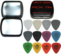 12 Dunlop Tortex & Nylon Standard Guitar Picks Plectrums In A Handy Pick Tin