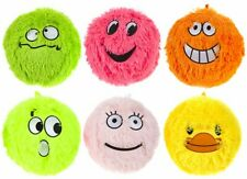 "Inflatable Funny Face Neon Furry Balls with Eyes 9"" - Pack of 6 - Free Delivery"