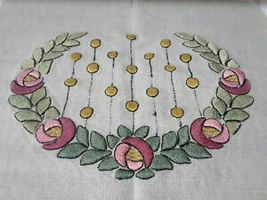 """Arts & Crafts Period Glasgow Rose Embroidered Linen Table Runner  ~ 22"""" x 59"""""""