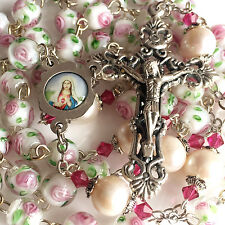 10mm REAL PEARL & Handmade Coloured glaze PINK ROSE BEADS ROSARY CROSS NECKLACE