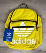 Adidas Originals Trefoil Backpack Yellow Large Logo Brand New School Fashion Bag