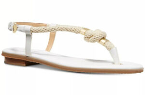 New Michael Kors Holly Flat Thong Sandals leather Rope optic white slingback