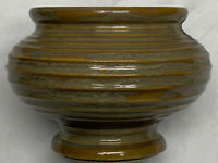 McCoy Pottery USA 424 Floraline Footed Ribbed  Planter Urn Green Tan Vintage