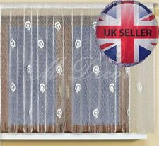 """Jacquard, ready made window net curtain, ends with a tunnel, WHITE 63"""" x 118"""""""