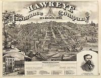 1875 Des Moines City fr. South Park Hill Wall Map Old Vintage Style Art Poster