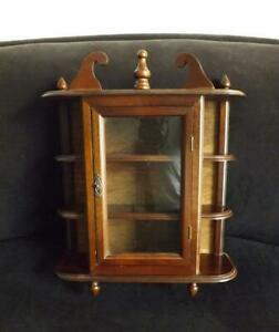 """Curio Cabinet Wood 3 Shelves Glass Door Tabletop Wall Hanging 17"""" T 14"""" W"""