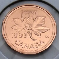 1993 Canada 1 One Cent Penny Canadian Brilliant Uncirculated BU Coin G371