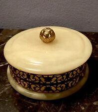 Genuine Italian Alabaster Round Lidded Brass Ornate Trinket Box Hand Carved