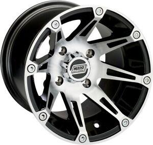 Moose Racing ATV UTV Type 387X Wheel 12x8 4+4 Offset 4/136 Machined Black Rear