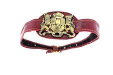 Vtg 1950s Red Belt Vintage Huge Gold Crest Buckle 1950's Pin Up For Design