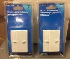 Plastic Picture Hanger- White - Adhesive Backed 2-2Pk Hillman Hook and Eye