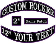 Custom Embroidered Rocker Patches Biker Motorcycle MC Club Top Bottom Tags Badge