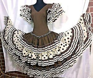 Flamenco Handmade Authentic Spain Dress Size 4/6 Brown/Cream Polka Dots/Stripes
