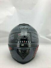 GLX Dual Visor Street Bike Helmet: Full Face Size Medium