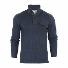 Mens Jumper Crosshatch Pendalton Knitted 1/4 Button up Pull Over Sweater Navy Blazer X Large