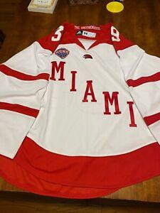 Miami Univ. Home Game Worn Hockey Jersey #39 Gilling Adidas 54 NCHC Light Wear