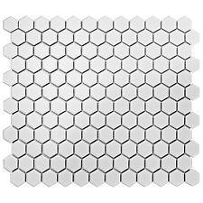 Retro Hex Porcelain Floor and Wall Tile, Matte White 10pcs/Carton