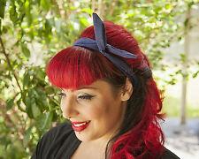 Dark blue Glitter Hairband Retro 50's Rockabilly hair tie W/ small end