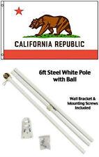 3x5 State of California Flag White Pole Kit Gold Ball Top 3'x5' flagpole set