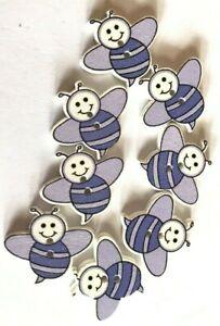 8 Dark Blue Wooden Happy Bee Buttons - Sewing, Craft, Scrapbooking