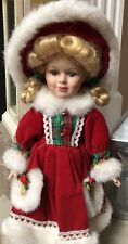 porcelain doll Christmas Red Velvet Dress And Hat 12� With Stand
