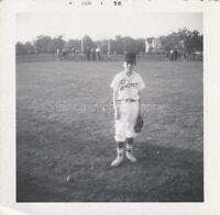 BASEBALL BOY 1950s Vintage FOUND PHOTOGRAPH bw FREE SHIPPING Snapshot 810 1 E