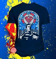New Superman Mens Stained Glass T-Shirt