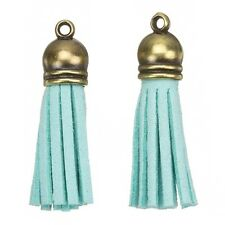 Suede Tassel Charms with Bronze Cap for Jewellery Making Turquoise 36mm (H22/5)